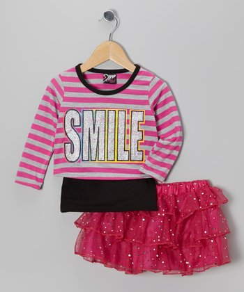 Fuchsia 'Smile' Top & Sequin Skirt - Infant, Toddler & Girls