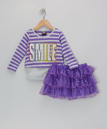 Purple 'Smile' Top & Sequin Skirt - Infant, Toddler & Girls