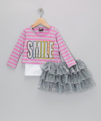 Pink 'Smile' Top & Silver Sequin Skirt - Infant, Toddler & Girls