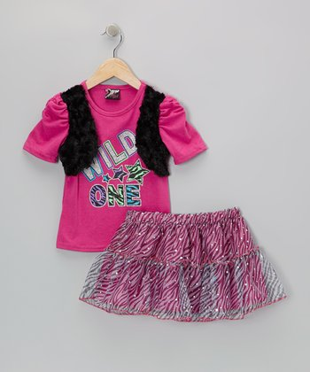 Fuchsia 'Wild One' Top & Zebra Skirt - Infant, Toddler & Girls