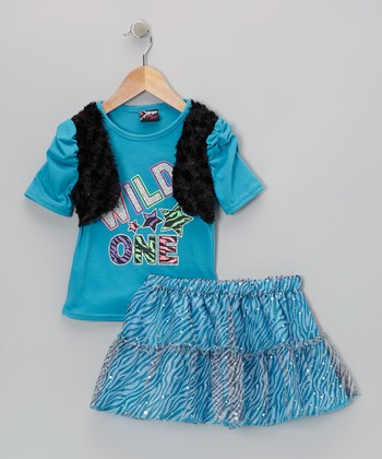 Aqua 'Wild One' Top & Zebra Skirt - Infant, Toddler & Girls