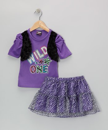 Purple 'Wild One' Top & Zebra Skirt - Infant, Toddler & Girls
