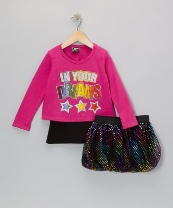 Fuchsia 'Dreams' Top & Rainbow Skirt - Infant, Toddler & Girls