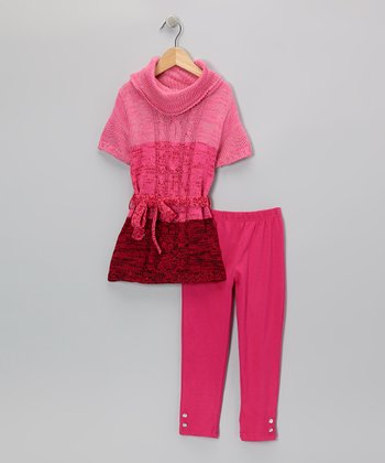 Pink Color Block Tunic & Leggings - Infant & Toddler