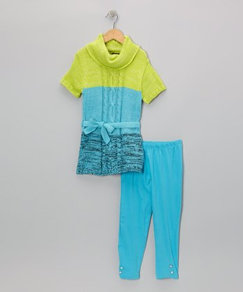 Aqua Color Block Tunic & Leggings - Infant & Toddler