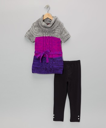 Purple Color Block Tunic & Leggings - Infant & Toddler