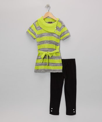 Lime Stripe Collar Tunic & Leggings - Infant & Toddler