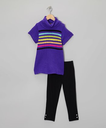 Purple Rainbow Stripe Tunic & Leggings - Infant, Toddler & Girls