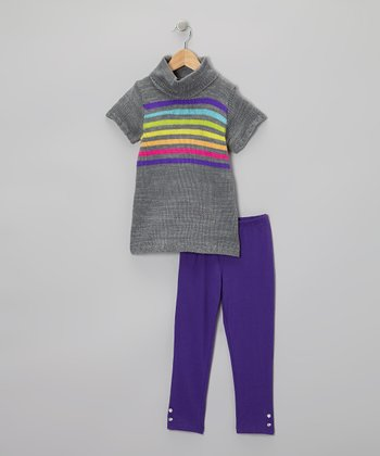 Gray Rainbow Stripe Tunic & Leggings - Infant, Toddler & Girls