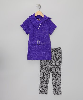 Purple Belted Tunic & Leopard Leggings - Infant & Toddler