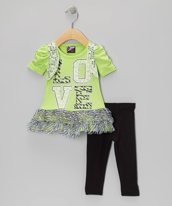 Lime 'Love' Sequin Skirted Tunic & Leggings - Infant