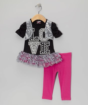 Black 'Love' Sequin Skirted Tunic & Leggings - Infant