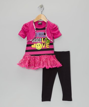 Fuchsia 'Smile' Skirted Tunic & Leggings - Toddler