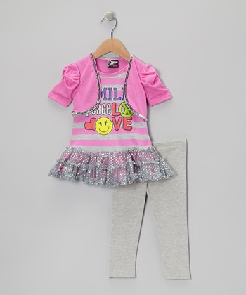 Pink 'Smile' Sequin Skirted Tunic & Leggings - Toddler