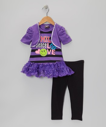 Purple 'Smile' Sequin Skirted Tunic & Leggings - Toddler