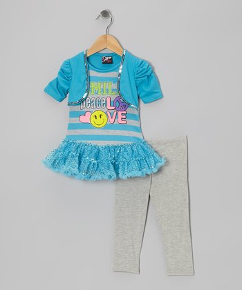 Aqua 'Smile' Sequin Skirted Tunic & Leggings - Toddler