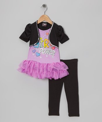 Purple 'Girl Power' Skirted Tunic & Leggings - Infant & Toddler
