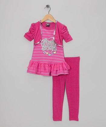 Fuchsia 'Awesome' Skirted Tunic & Leggings - Girls