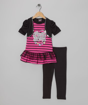Black 'Awesome' Skirted Tunic & Leggings - Girls