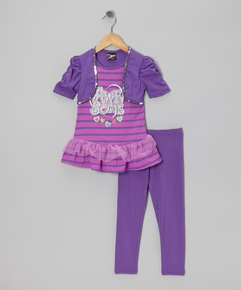 Purple 'Awesome' Skirted Tunic & Leggings - Girls
