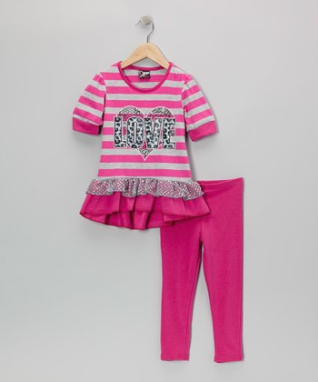 Fuchsia Stripe 'Love' Skirted Tunic & Leggings - Toddler & Girls