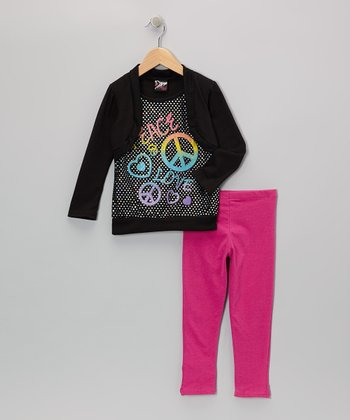 Black 'Peace' Layered Top & Leggings - Toddler & Girls