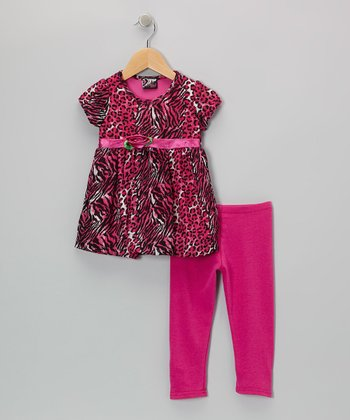 Pink Zebra Leopard Babydoll Tunic & Leggings - Infant & Toddler