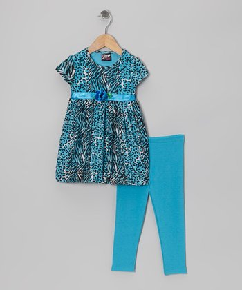 Aqua Zebra Leopard Babydoll Tunic & Leggings - Infant & Toddler