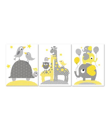 Yellow & Gray Giraffe Print Set