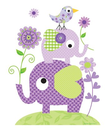 Purple Elephant & Flower Print