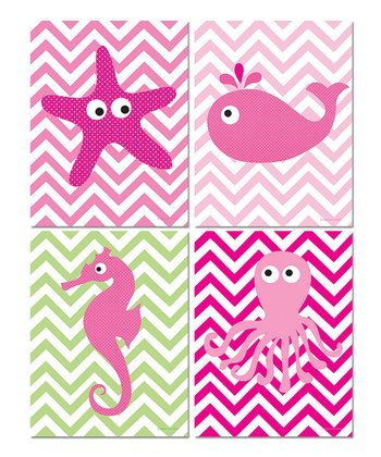 Pink Zigzag Sea Creature Print Set