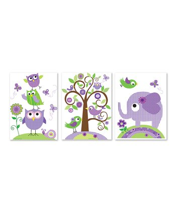 Purple Animals Print Set