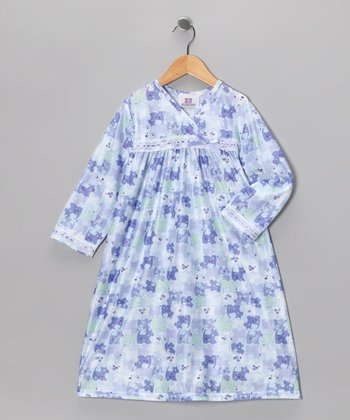 Blue Patchwork Puppy Ruffle Nightgown - Toddler