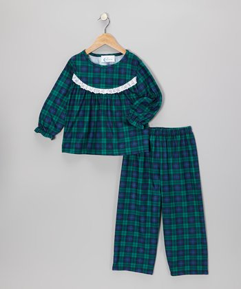 Green Plaid Pajama Set - Toddler