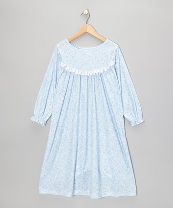 Blue Sara Ruffle Nightgown - Toddler