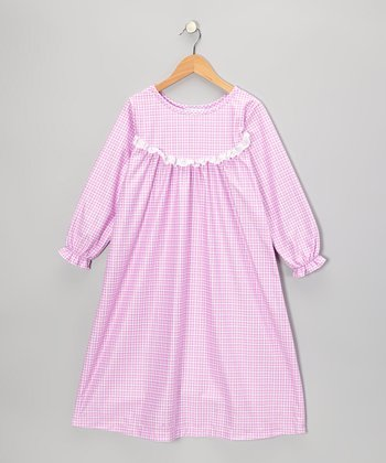 Pink Party Gingham Ruffle Nightgown - Girls