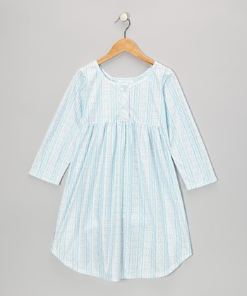 Blue Tyrolean Babydoll Nightgown - Girls