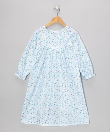 Blue Stars & Moon Bow Nightgown - Toddler