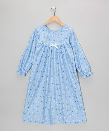 Blue Happy Dot Bow Nightgown - Toddler & Girls