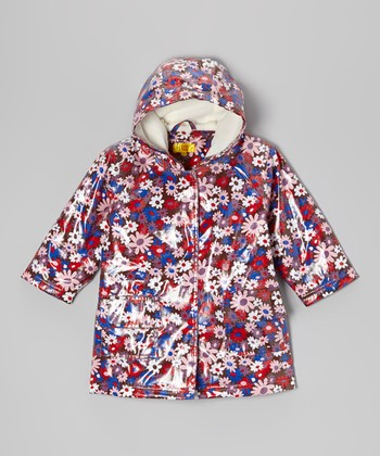 Brown Flower Fleece-Lined Raincoat - Infant, Toddler & Girls
