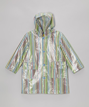 Blue Stripe Raincoat - Infant, Toddler & Kids