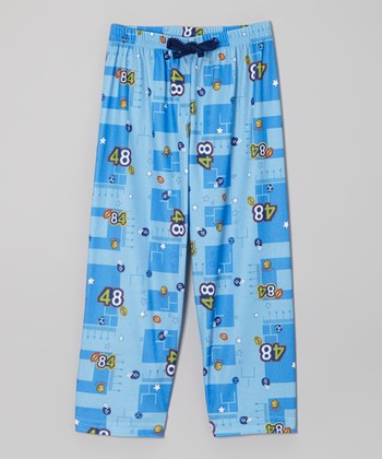 Blue Football Pajama Pants - Boys