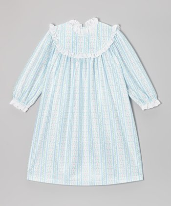 Light Blue Tyrolean Ruffle Nightgown - Girls