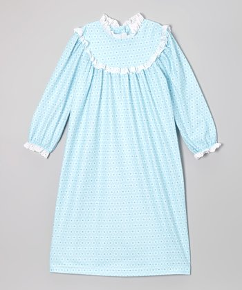 Aqua Ruffle Nightgown - Toddler & Girls