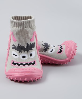 Skidders Pink Winking Monster Gripper Shoe