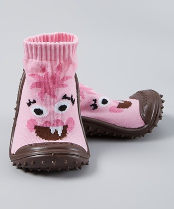 Skidders Pink Bright-Eyed Monster Gripper Shoe