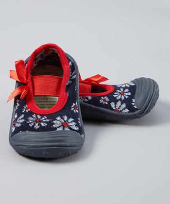 Skidders Blue & Red Floral Gripper Mary Jane