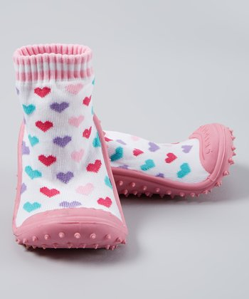 Pink Hearts Gripper Booties