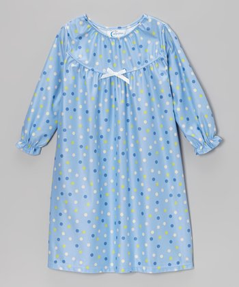 Blue Happy Polka Dot Bow Nightgown - Toddler & Girls