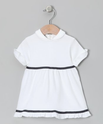 White & Navy Ruffle Dress - Infant